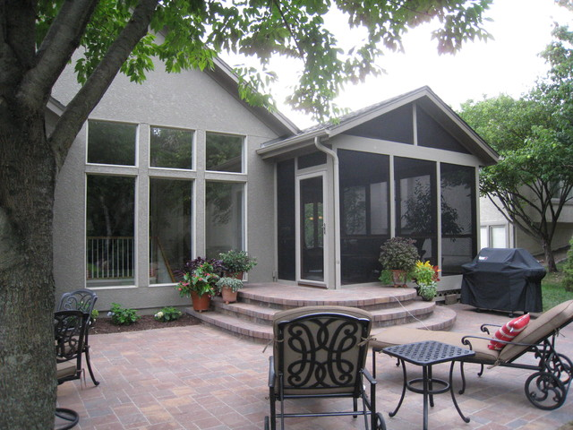 Screened porch and paver patio in Overland Park KS ... on Houzz Backyard Patios  id=58623