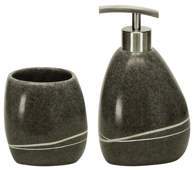 Stone - Polyresin Modern Bathroom Accessories Set of 2 ...