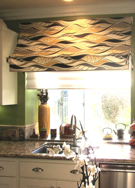 Indoor Kitchen Awning And Open Cabinet