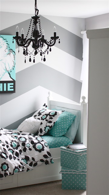 Gray and Turquoise Teen Bedroom - Contemporary - Kids ... on Teenage Grey Small Bedroom Ideas  id=79126