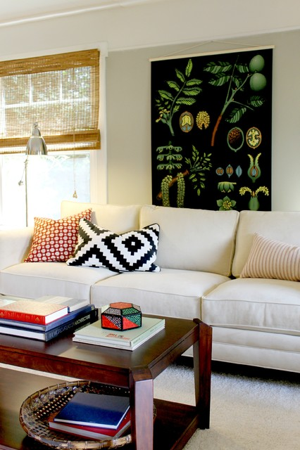 Oversized Botanical Chart and Navajo Style B&W Pillow traditional-living-room