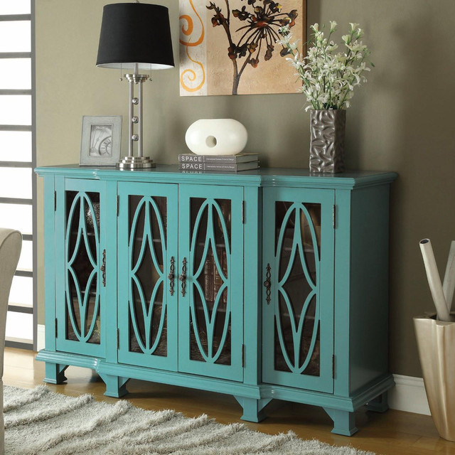 Teal Blue Accent Cabinet Modern Kitchen Cabinets
