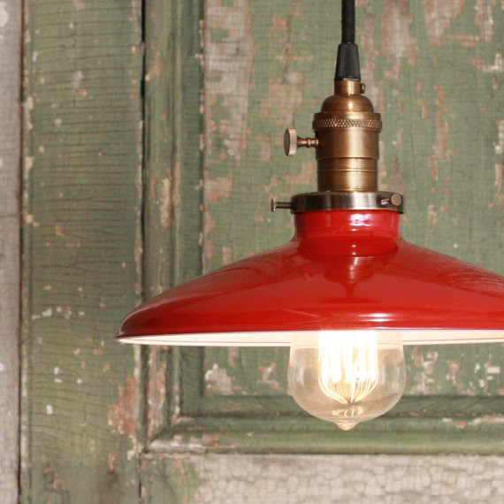 Pendant Light With Red Enamel Shade by Lucent Lampworks traditional pendant lighting