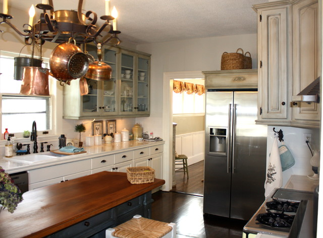 After Photo Of New French Country Kitchen Eclectic
