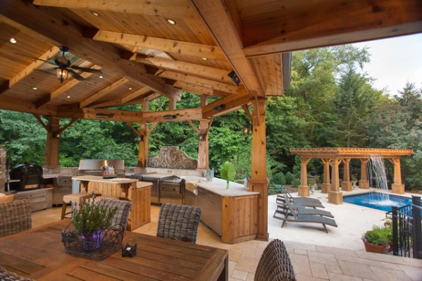 outdoor kitchen with pool and patio Naperville Realtor Luxury Custom OutDoor Kitchen