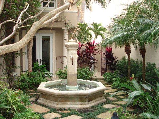 Water Fountain Mediterranean Landscape Tampa By