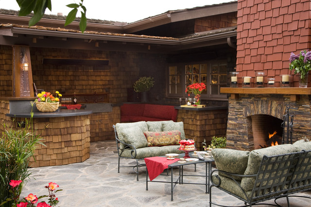 Craftsman outdoor kitchen and fireplace - Traditional ... on Outdoor Kitchen And Fireplace Ideas id=80319
