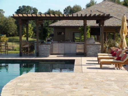 Outdoor Kitchen - Sacramento Valley - Modern - Pool ... on Outdoor Kitchen By Pool id=13079