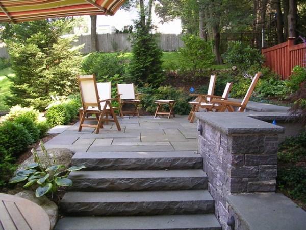 backyard stone patio design ideas Backyard stone patio - Traditional - Patio - boston - by
