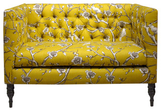 Vintage Blossom Tufted Settee, Citrine eclectic-loveseats