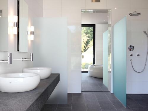 RoyaumeStyleDeco, Salle de bain, gris et blanc