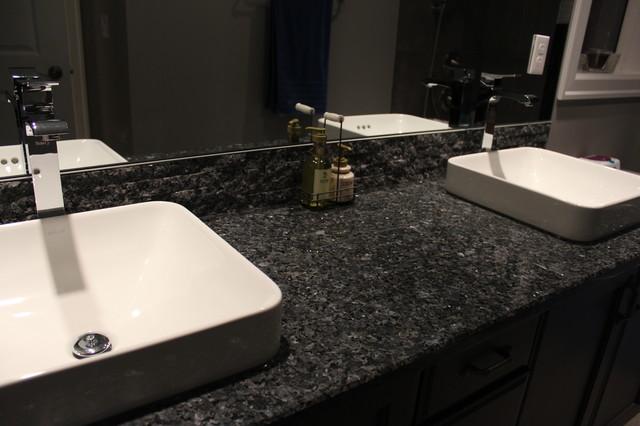 Blue Pearl Granite Vanity's & Granite Tile Backsplash on Bathroom Ideas With Black Granite Countertops  id=28300