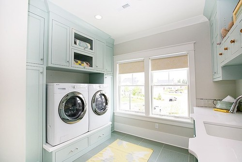 pretty blue cabinets for laundry room