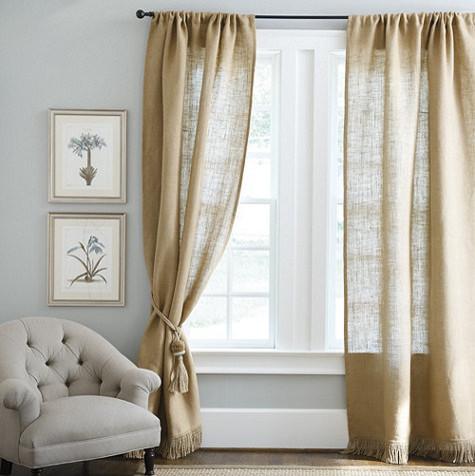 Fringed Burlap Panel - Farmhouse - Curtains - by Ballard ... on Farmhouse Bedroom Curtain Ideas  id=63911