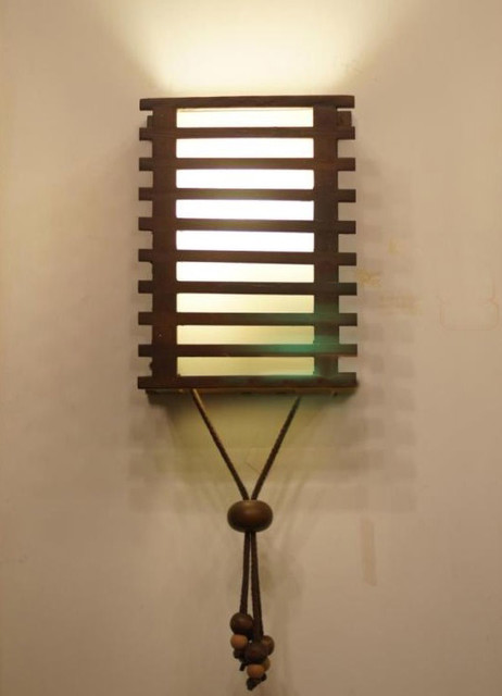 Modern Wood shade Wall Sconce - Contemporary - Wall ... on Wood Wall Sconces id=93294