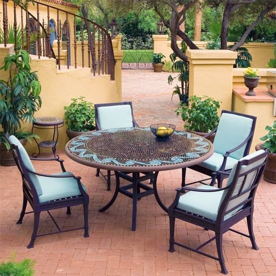 Iron Mosaic Patio Set - Eclectic - Outdoor Dining Sets ... on Houzz Backyard Patios  id=72521