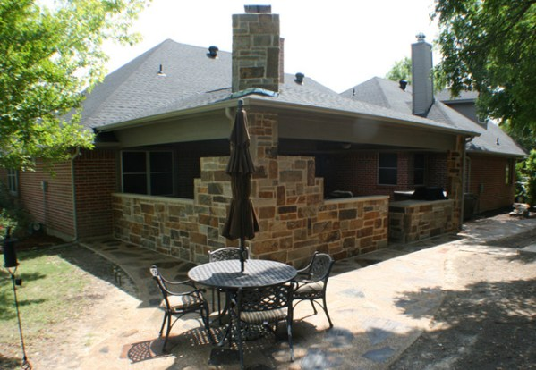 outdoor covered patio with fireplace and kitchen Fort Worth Burleson Covered Patio, Outdoor Fireplace, and