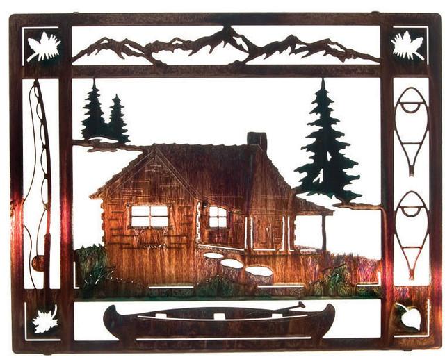 "At The Cabin Rustic Metal Wall Art 20"""