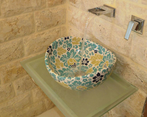 custom decorated vessel sink