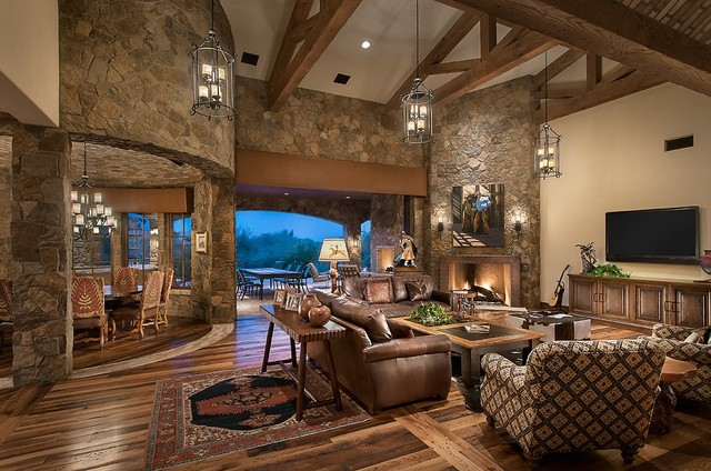 Southwestern Ranch Traditional Living Room Phoenix