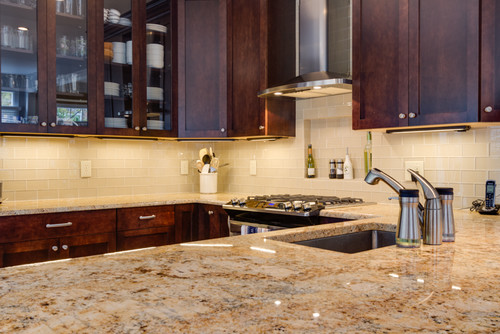 I Love How The Green Granite Brings Out The Green In The Marble Backsplash  In This Kitchen Below. So Pretty.