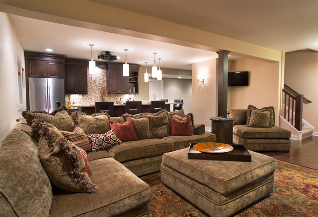 Cozy Home Theater Traditional Basement Other Metro