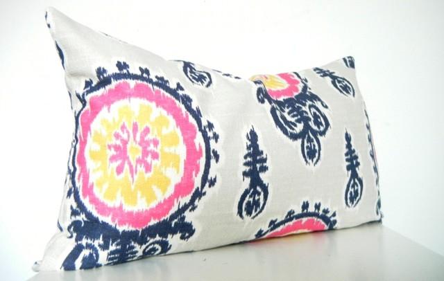 Designer Ikat Long Bolster Pillow In Navy Blue, Pink, Gray