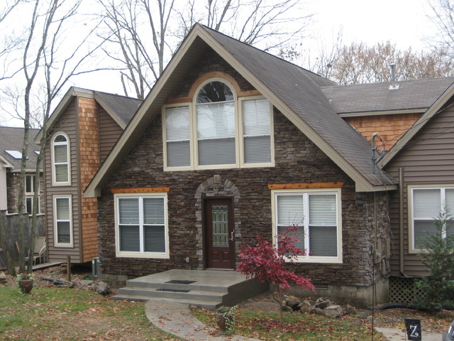 Exterior Redesign With Stone And Cedar Traditional