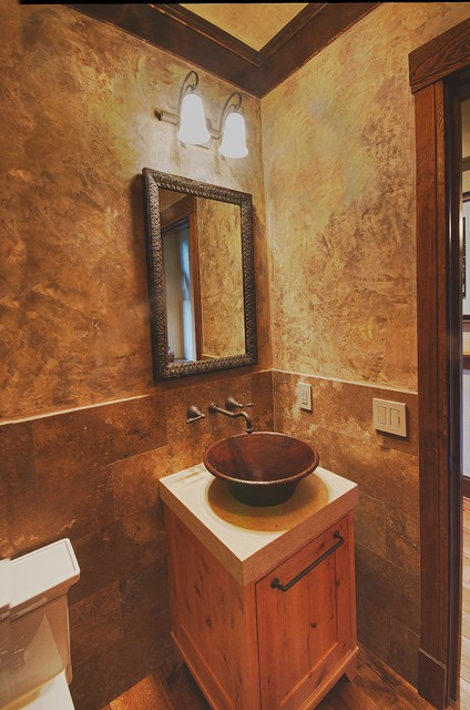 Rustic Contemporary Remodel Rustic Powder Room Other