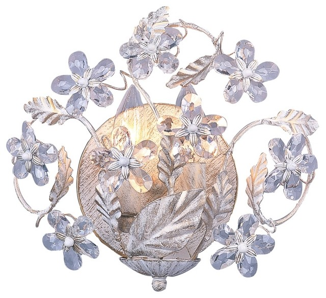 """Cut Crystal Flowers 10 3/4"""" Wide Bathroom Wall Sconce ... on Wall Sconces With Flowers id=87941"""