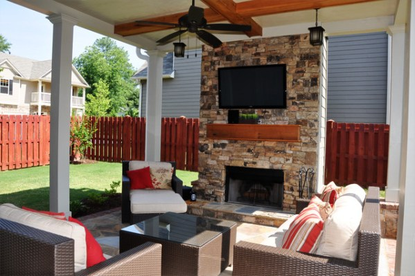 outdoor patio rooms with fireplace Smyrna - Outdoor Living Room and Fireplace - Traditional