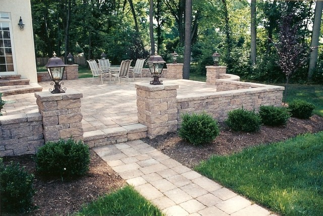 Raised Patio with Walkway, Sitting Walls and Pillars with ... on Raised Concrete Patio Ideas id=35216