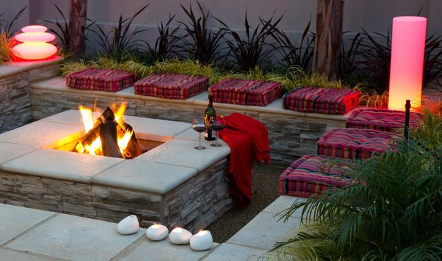 Landscaping with Fire - Square fire pit - Contemporary ... on Square Backyard Design Ideas id=64666