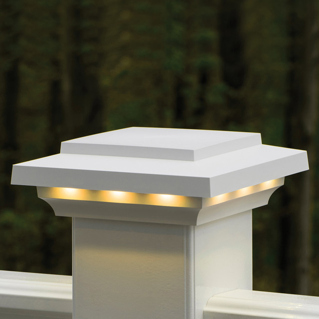 AZEK Rail Lighted Island Post Cap Contemporary Post Lights Other Metro By AZEK