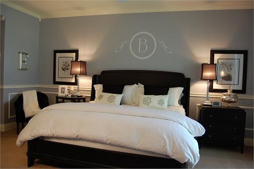 15/06/2020· a delicate blue paint color covers the walls in this bedroom and is picked up again in the patterned curtains, stools, and throw pillows. grey blue bedroom with dark furniture.jpg