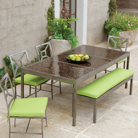 "Modern Living 82"" Mosaic Dining Table - Modern - Outdoor ... on Outdoor Living Iron Mosaic id=18078"