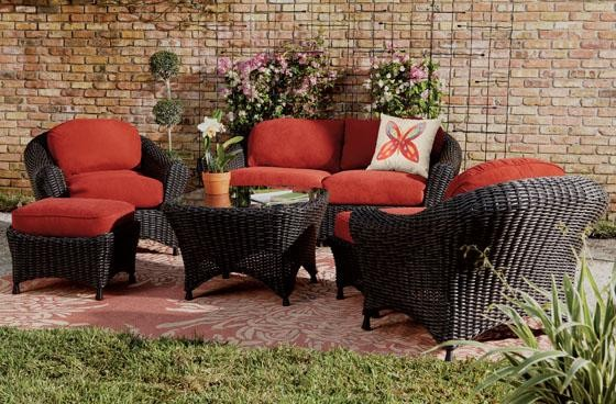 Martha Stewart Living™ Lake Adela Six-Piece Seating Set ... on Martha Stewart Wicker Patio Set id=31288