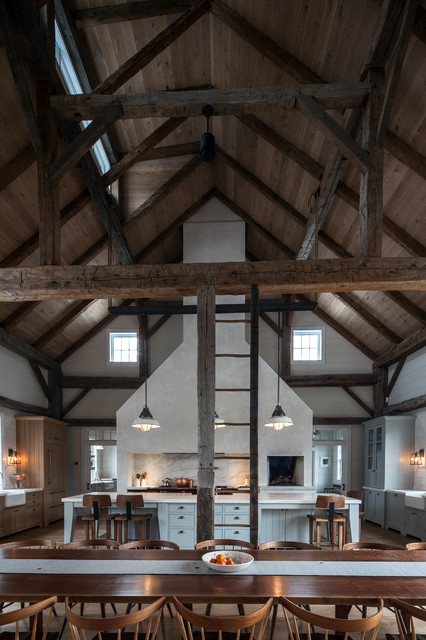 Vintage barn frame addition to Dutch stone house - Rustic ...
