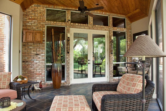 Screened/Enclosed Patio - Traditional - Porch - dallas ... on Small Enclosed Patio Ideas id=98426