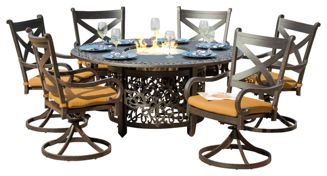 Avondale 6-Person Cast Aluminum Patio Dining Set With Fire ... on Outdoor Dining Tables With Fire Pit id=71902