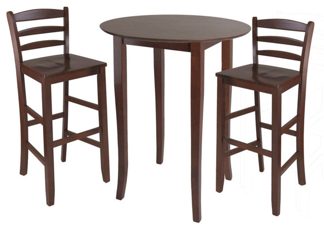 Winsome Wood Fiona 3 Piece High Round Table W/ Ladder Back