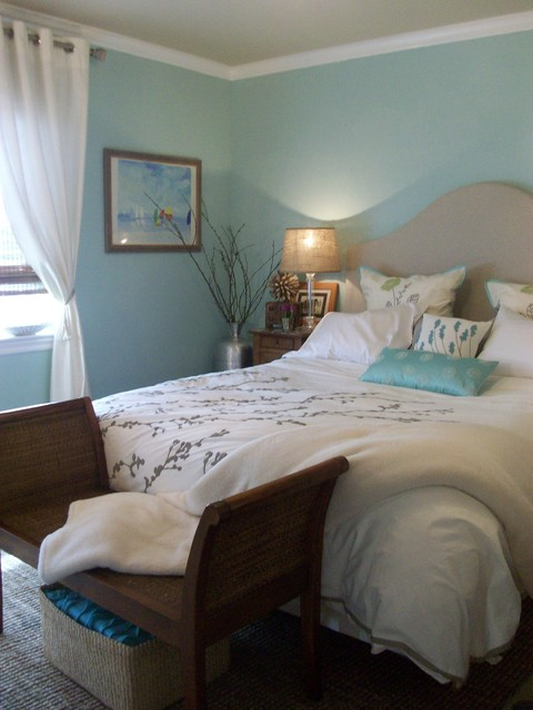 Calm French Coastal Master Bedroom Retreat Traditional