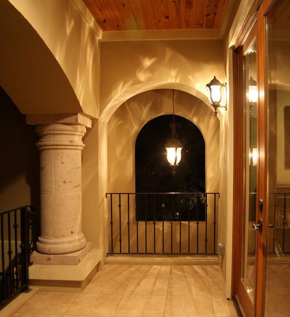 Upstairs Covered Balcony Mediterranean Porch Austin