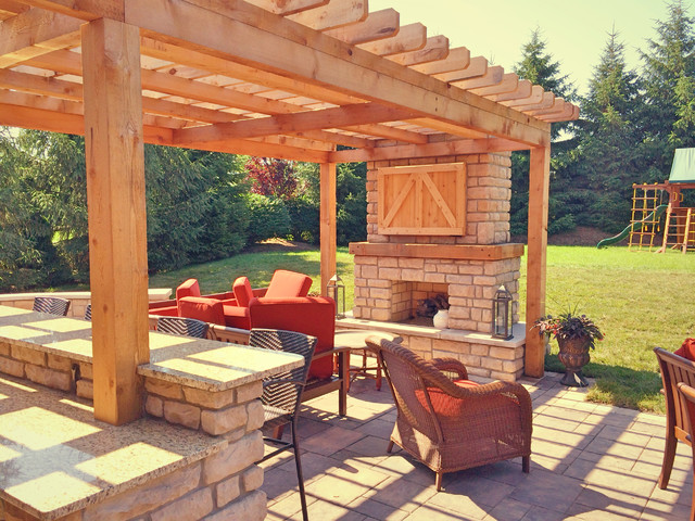Farmhouse style outdoor living space - Farmhouse - Patio ... on Houzz Outdoor Living Spaces id=24947