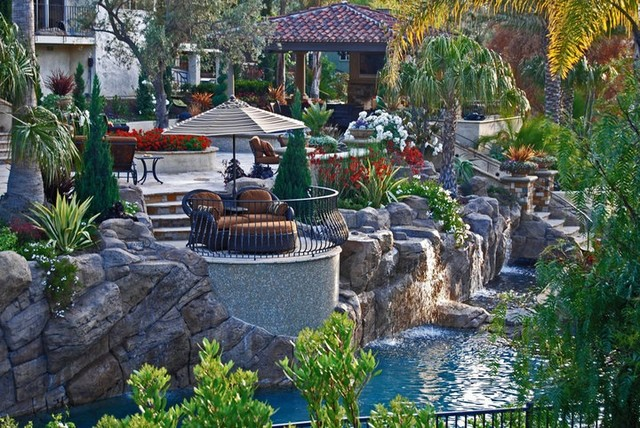 Outdoor Living Spaces - Tropical - Pool - orange county ... on Outdoor Living And Landscapes id=44327