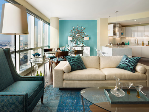 Another Easy Way To Add A Subtle Pop Of Color Is On An Accent Wall  Somewhere In Your Home: Contemporary Living Room ...