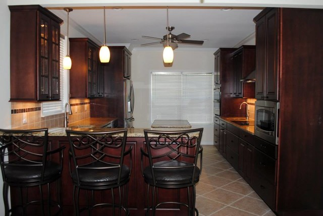 Maple Cabinets in Cranberry with Black Stain, NV Gold Granite on Black Granite Stain  id=49768