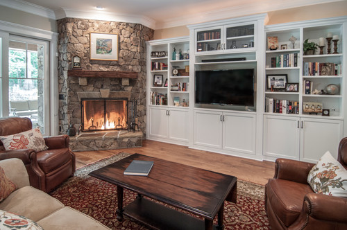 Good Decorating Around A Corner Fireplace   KDH Residential Designs Via Houzz Part 7