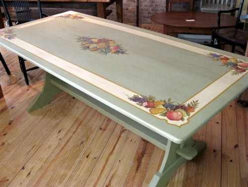 hand painted dining table with summer fruit design on hand painted dining room tables id=75927
