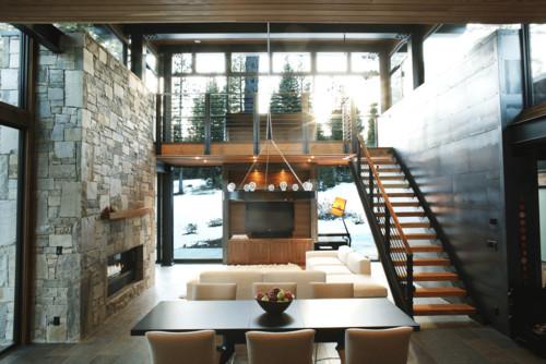 RoyaumeStyleDeco, Chalet, Tahoe Lake,  Salon salle à manger  moderne